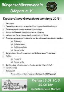 Generalversammlung Tagesordnung 2015