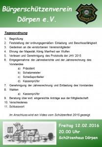 Generalversammlung des BSV Dörpen 2016 - Tagesordnung