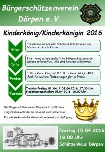 Flyer - Kinderschützenkönig/-in 2016