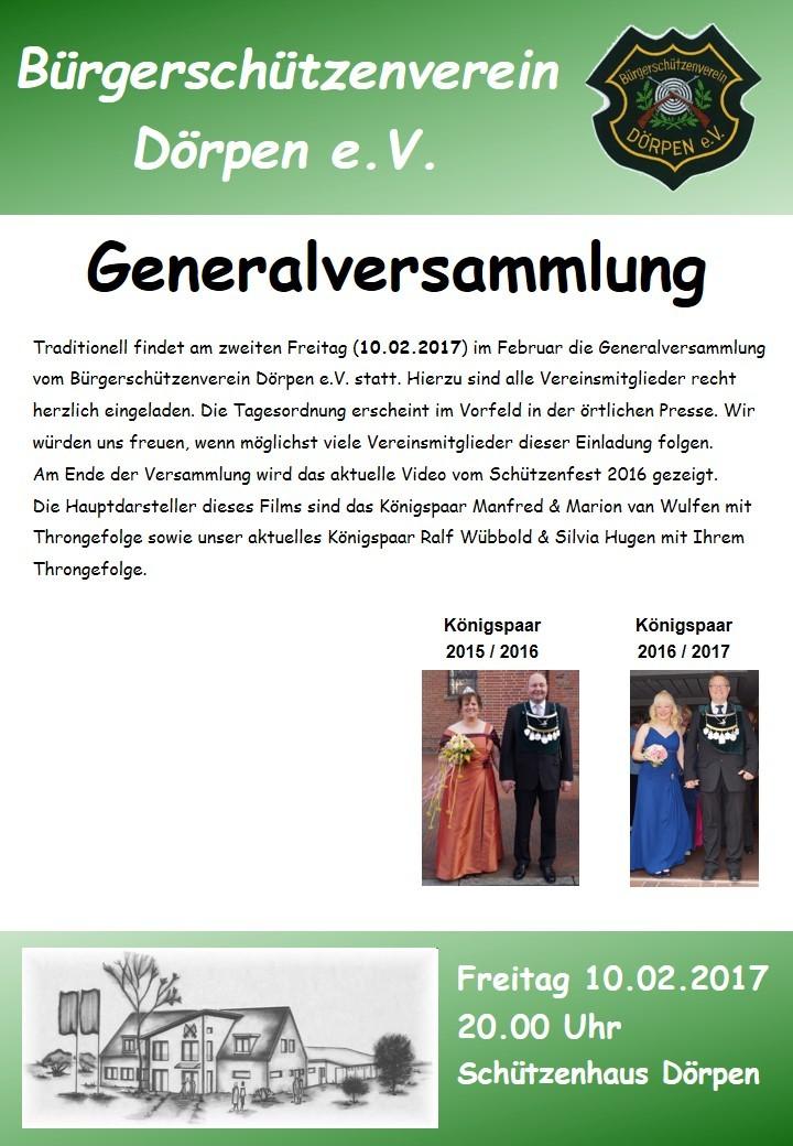 Generalversammlung 2017 BSV Dörpen e.V.